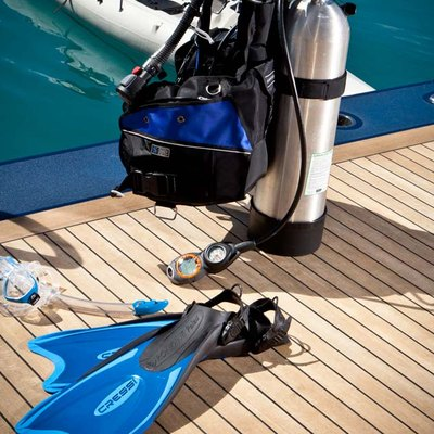 Aquila Yacht Scuba Diving Equipment on Swim Deck