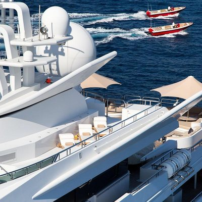 Neom Yacht Exterior shot with tenders in the distance