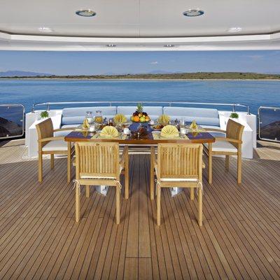 Mia Rama Yacht Aft Deck Dining
