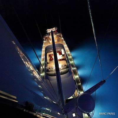 Prana Yacht Sun deck from the mast, by night