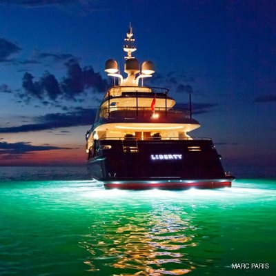 Liberty Yacht Under Water Lights