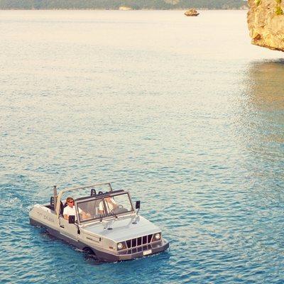 Exuma Yacht Amphibious Jeep at Sea