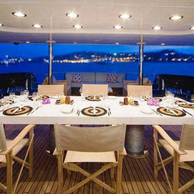 Cyan Yacht Dining on Deck