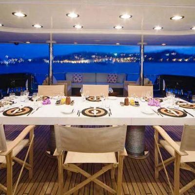 Cyan Yacht Dining on Deck