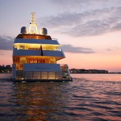 N.M.N Yacht Aft View - Sunset
