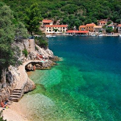 Tiny beach next to Kioni village, Ithaca in Greece