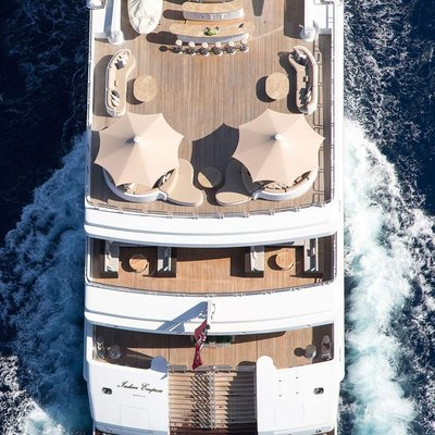 Neom Yacht Ariel shot of the exterior deck spaces