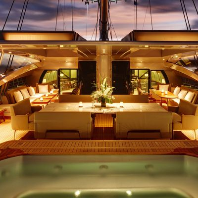 Vertigo Yacht Aft Deck Night Jacuzzi Half Open
