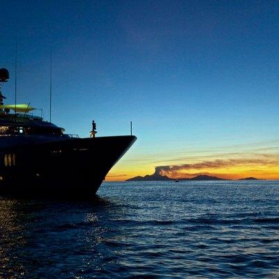 Diamond Yacht Front View - Sunset