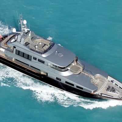 Silver Dream Yacht Running Shot - Aerial View
