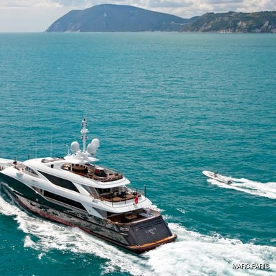 Liberty Yacht Running with Tender Alongside