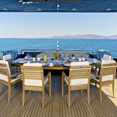 O'Pati Yacht Aft Deck Dining