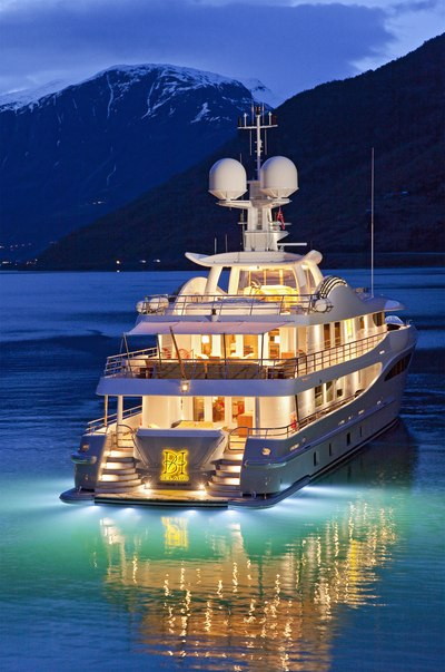 April Yacht Under Water Lights