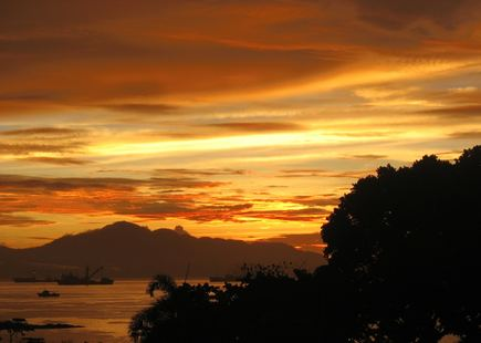 Sunset over Solomon Islands in South Pacific