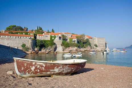 Old Fishing Boat on the beach of Sveti Stefan