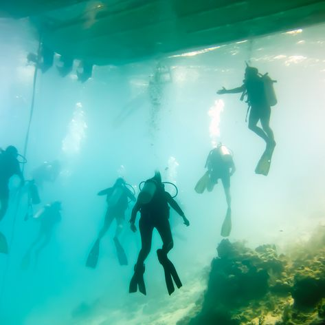 Divers and ship wreck on the bottom of the sea