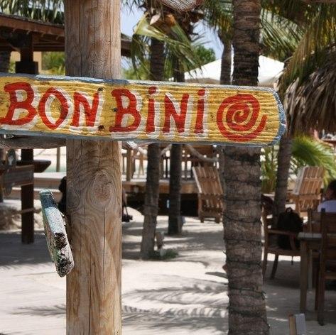 Bon-Bini Welcome sign outside Aruba restaurant