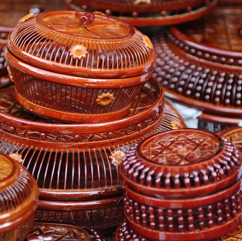 An example of Dominican art in handmade baskets