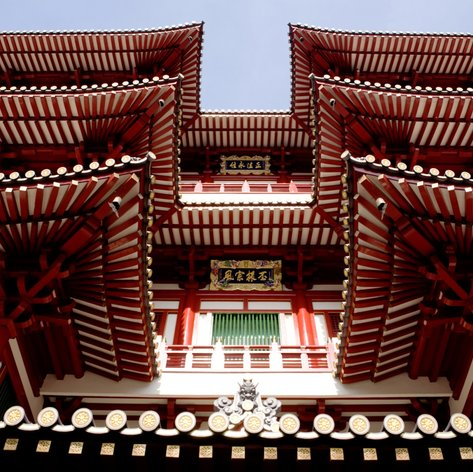 An archtiecture detail of a buddhist temple