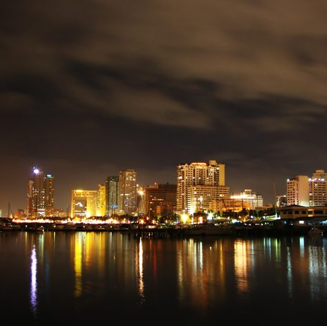 Seaside city at night lights