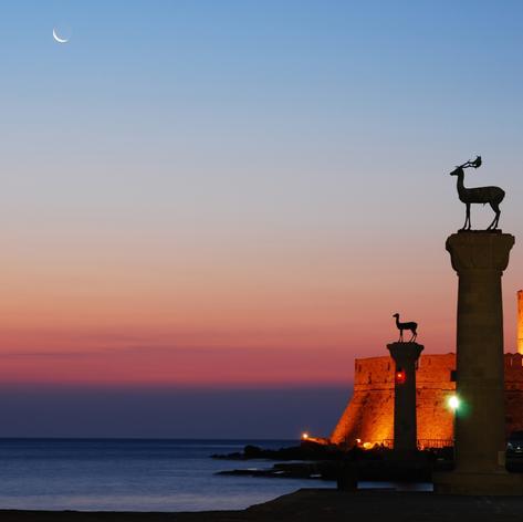 Bronze Deer Statues Guarding the Coast of Rhodes