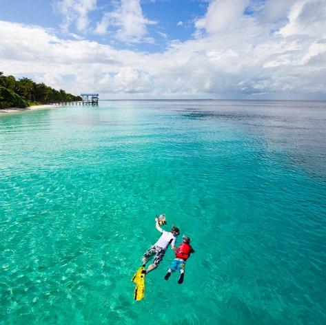 Brave snorkelling in a ocean