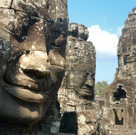 Sculptures of faces in the Temple of Bayon