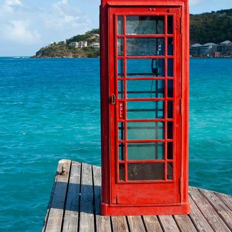 Red phone box on Virgin Gorda