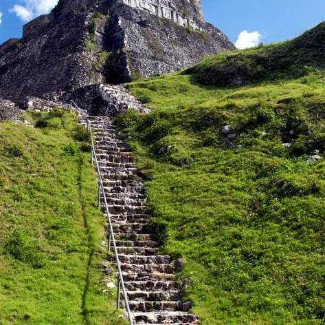 Ancient pyramid and steps leading to it