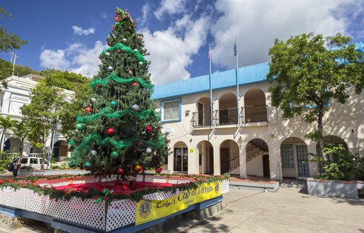 Old town courtyard on British Virgin Islands with tree in foreground