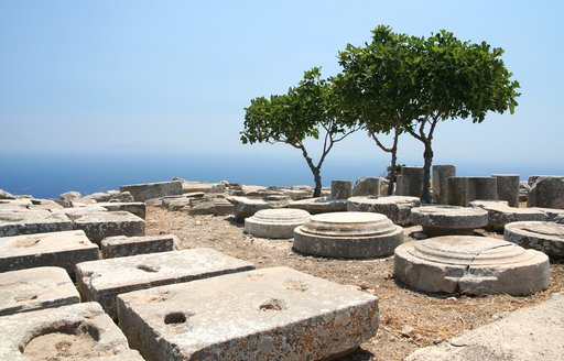 Remains of Santorini town of ancient Thera