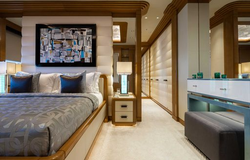 guest suite and bathroom on charter yacht lana