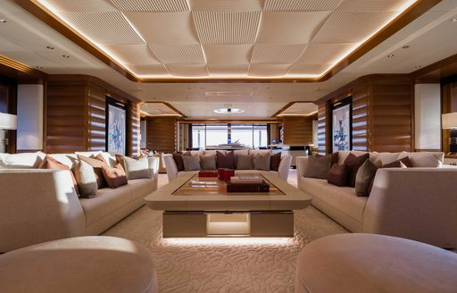 sofas and lounging area on megayacht lana