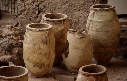 Clay jugs in ancient town of Akrotiri