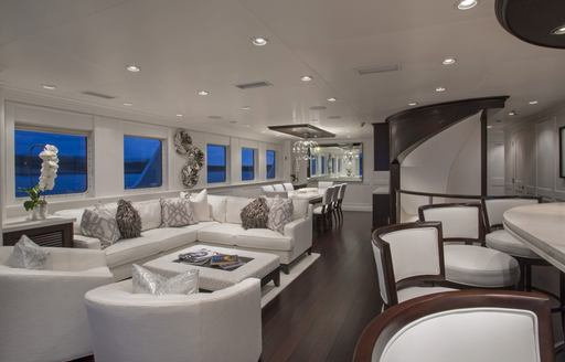 Explorer yacht MARCATO lounge area with white furnishing