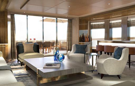 Comfortable seats around table of superyacht MOSKITO