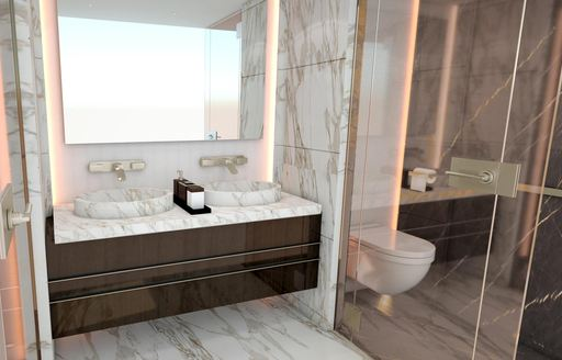 Marble effect ensuite on superyacht MOSKITO