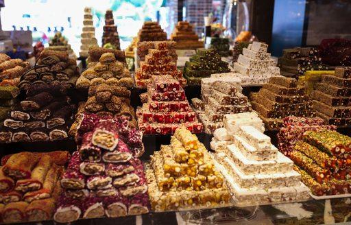 Sweet treats piled up at bazaar in Turkey