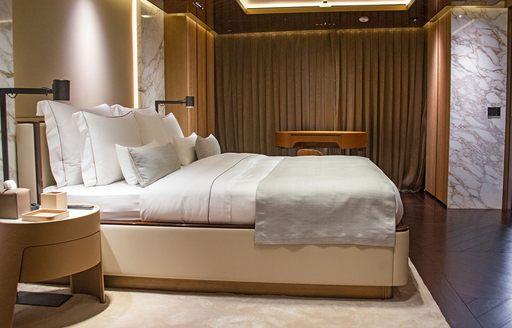 owners suite on megayacht geco