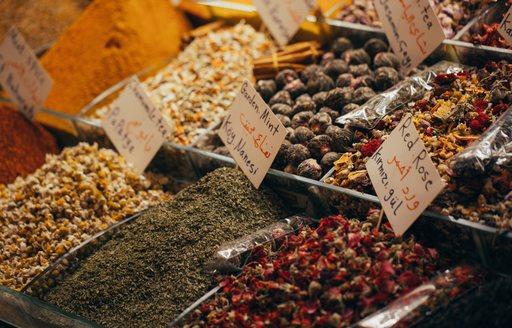 Spices in stalls at market in Turkey