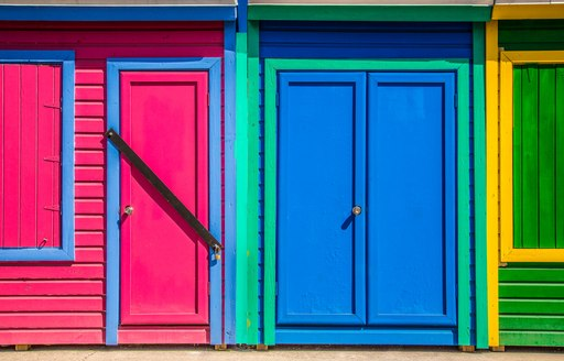 Brightly colored beach hut doors