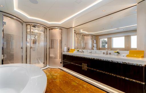 Marble effect en-suite on superyacht O'PARI
