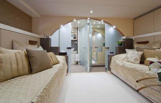 twin guest cabin on charter yacht daloli