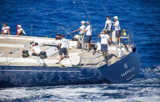 all hands on deck aboard sailing yacht FARFALLA as she competes in the RORC Caribbean 600
