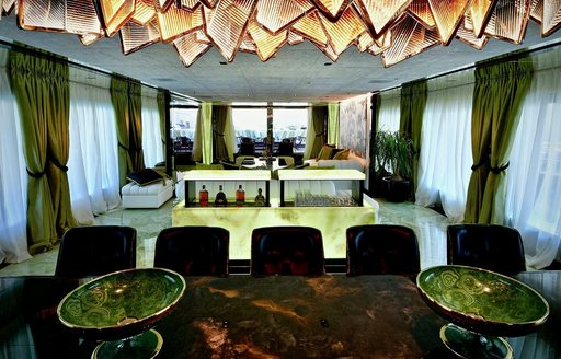 The green deco featured in the interior of a superyacht