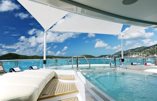 Contra-flow pool on Superyacht TV's sundeck