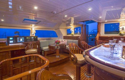 wet bar on raised pilot house of sailing yacht Whisper