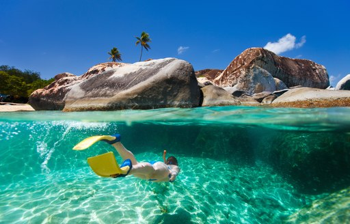 Person snorkelling in crystal clear Caribbean water