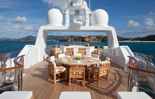 Beautiful sundeck of motor yacht Friendship