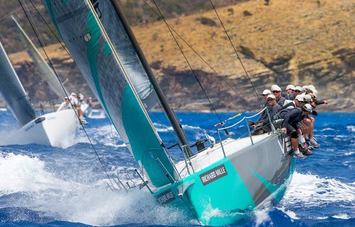 close up of crew on sailing yacht competing in the Les Voiles de St. Barth 2015
